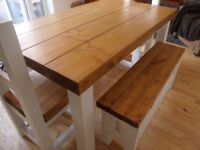 Chunky Solid Wooden Table with 2x Chairs Brand New!