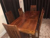 Dining table and chairs solid wood