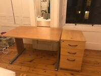 Office desk and matching storage set of 3 drawers