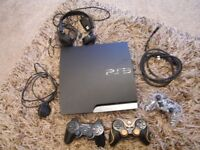 PS3 console, controllers and head set