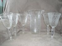 5 plastic bubble design wine goblets and jug