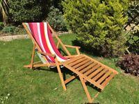 Oak Frame Sun Lounger and Footstool - Habitat