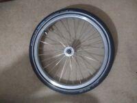 Brompton front wheel with little used Schwalbe Marathon Plus tyre