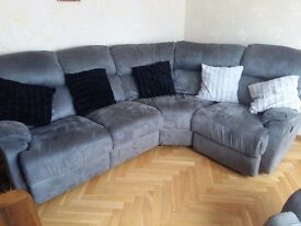 As new 4 seater right hand corner recliner sofa and single seater recliner grey suede