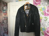 Superdry leather Indy motorbike jacket
