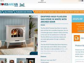 Brand new unused white flueless gas wood burning stove