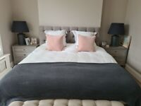 Button & Sprung Foxtail Upolstered Super King Size Bed Frame