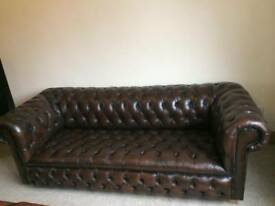 Beautiful Dark Brown Leather Full Button 3 Seater Chesterfield Sofa