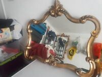 Antique Rectangle Wall Mirror - Gold / Brass effect - COLLECTION ONLY