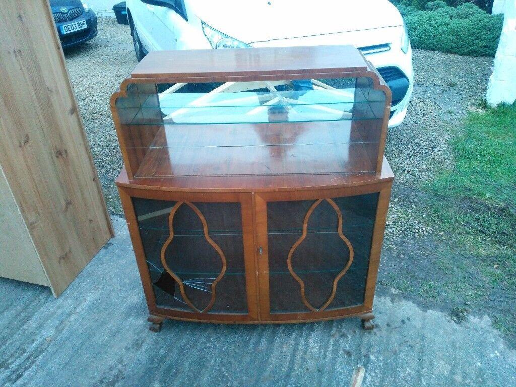1960s wood veneer display cabinet FREE