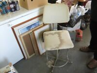VINTAGE CHAIR INDUSTRIAL MACHINISTS / DRAUGHTSMAN CHAIR GOOD USED CONDITION NEEDS RECOVERING £60