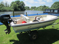 Orkney 315 Dory with Tohatsu 8 h.p. E/S 4-stroke outboard, full remotes, road trailer and cover