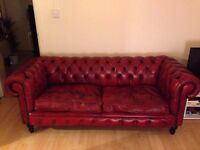 Chesterfield 2 seats sofa ox red very good condition