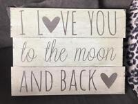 'I love you to the moon and back' wooden sign