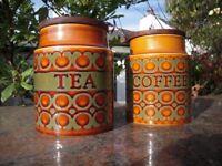 Hornsea Pottery, Heirloom, Bronte design, Tea and coffee jars
