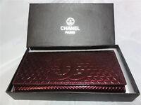 New Chanel Leather Clutch Handbag Bag Purse Red / Maroon /Box