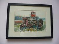 ORIGINAL WATERCOLOUR Tractor at Boulmer