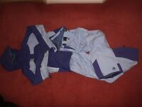 Womens Ski Suit by ACG, purple/grey, size 12, trousers with belt and jacket with snow skirt and hood