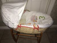 Mamas and Papas Moses Basket and wooden stand plus FREE pampers nappies