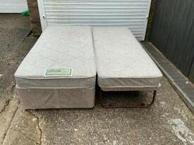 Single divan bed with pull out bed and mattresses