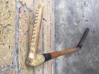 Antique bone handled hallmark silver collar riding crop