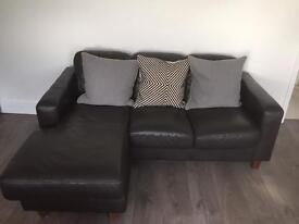 Leather chaise sofa (2 seater)