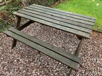 Wooden garden picnic bench