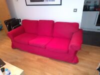Three-seat sofa EKTORP white + extra red cover + footstool