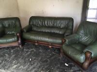 2 Leather Armchairs & Sofa