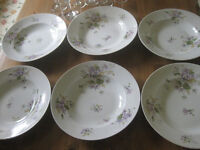 Flower patterned dishes marked E Bourgeois Paris