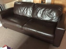 Brown leather sofa for sale (bought from DFS)