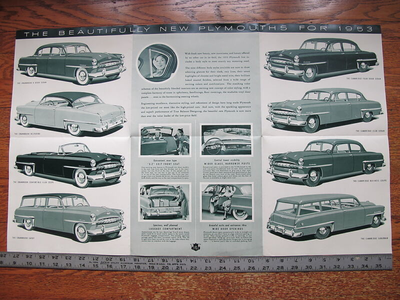 1953 Plymouth Cranbrook Cambridge Dealers Brochure Literature Advertising Poster