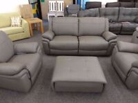 Ex Display ScS Libra Grey Leather 3 Seater Sofa & 2 Armchairs Can/Del View Collect Hucknall Nottm