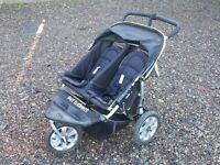 Out n About Nipper 360 Double Buggy with raincover, foot muff & newborn support