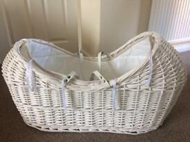 White wicker Moses basket