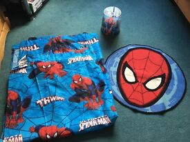 Spider Man entire bedroom set, Large Curtains, Rug, Lampshade, Single Pillowcase & Duvet Cover