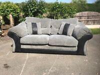 Grey & Black Sofa Settee Leather Fabric