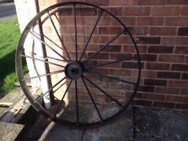"Cast iron, wagon wheel 46"" diameter"