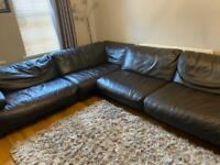 Large leather corner sofa
