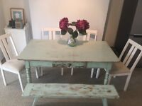 Shabby chic dining table, bench and 4 chairs