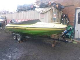 17 ft speedboat and twin wheel trailer