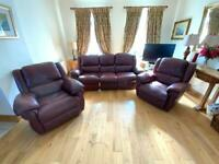 3 piece Burgundy leather recliner suite