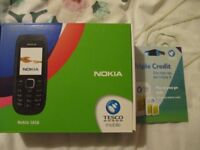 Nokia 1616 Mobile phone, Charger instructions on Tesco Mobile in Box with new Sim Card Included