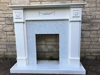 White fire surround for electric fire place