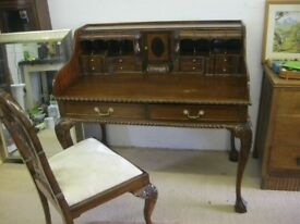 QUALITY ANTIQUE CHIPPENDALE WRITING TABLE WITH BUREAU TOP & CHAIR. VIEWING/DELIVERY AVAILABLE