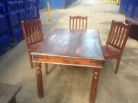 Split rustic oak dining table Indian jali sheesham rosewood & 3 chairs