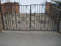 Pair Wrought Iron Driveway Gates with all fittings for brick post hanging in 8 ft gap