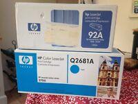 printer cartridges (1 x HP Q2681A - CYAN (SERIES 3700) & 1 x HP92A)