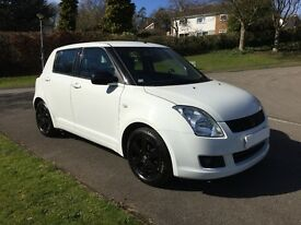 2008 SUZUKI SWIFT 1.5GLX PETROL WHITE WITH FULL BLACK LEATHER AND BLACK ALLOYS