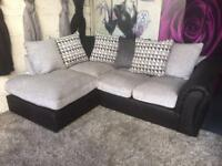 New Linear Left Hand Scatterback Compact Corner Chaise Sofa In Black/Charcoal